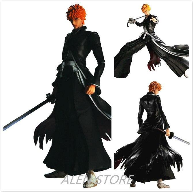 ALEN 26cm Play Arts Kai Bleach Kurosaki Ichigo Japanese Anime Figures One Piece Action Pvc Model Collection For Girls Kids Lover