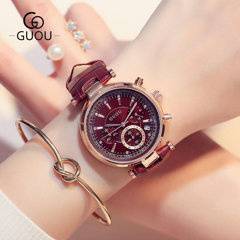 New Watch Women GUOU brand Fashion Women Sports Waterproof Six-pin Calendar Quartz Watch Lady's Dress Watches & Gift Bracelet