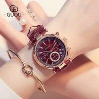 New Watch Women GUOU brand Fashion Women Sports Waterproof Six pin Calendar Quartz Watch Lady's Dress Watches & Gift Bracelet