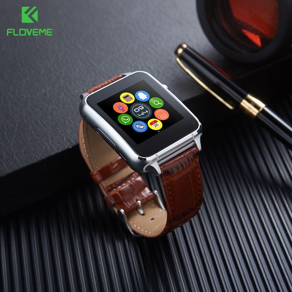 FLOVEME Inteligente Reloj de Los Hombres Mujeres de La Manera Smartwatch Androide Tarjeta SIM Bluetooth Dispositivos Portátiles de Cuero Pulsera Reloj Inteligente