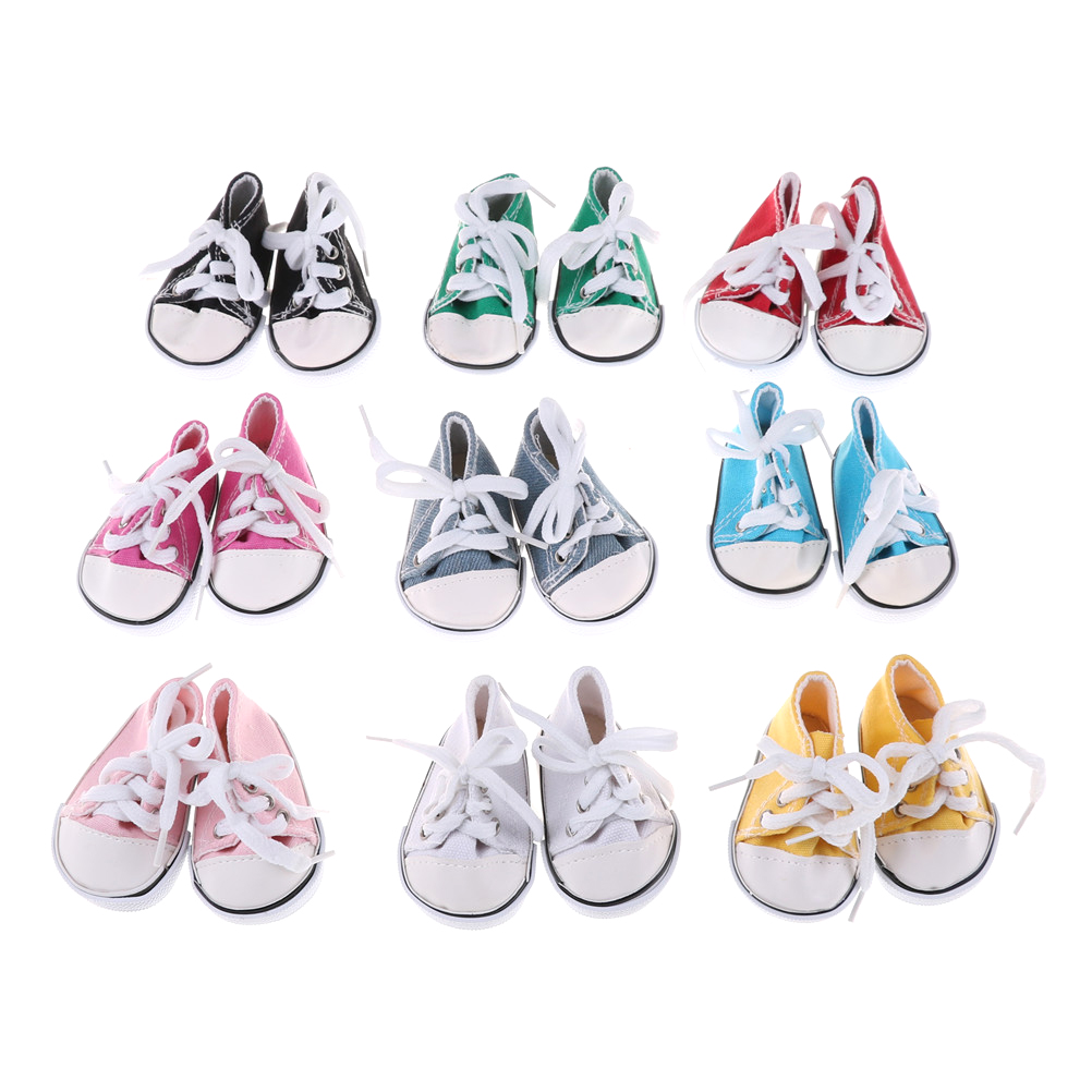 1Pair Canvas Doll Shoes Fits 18 Inch Doll  Sneakers Lace Kids Fits Toy