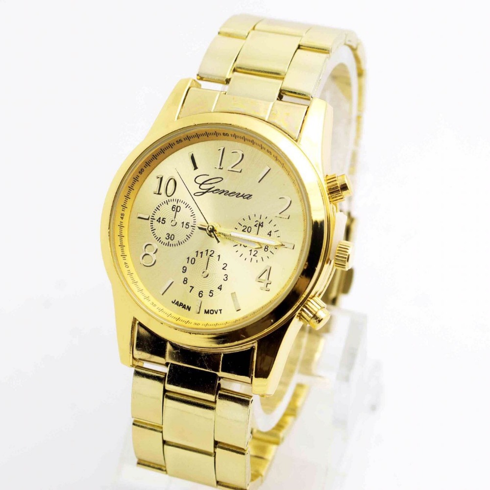 Business-Wristwatches Quartz-Watch Crystalfashion Casual Men's Golden Men Luxury Brand