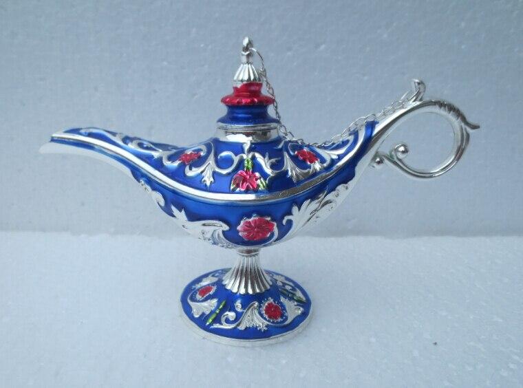 Nouveau Style métal artisanat décor à la maison belle tibet argent sculpté théière bleu couleur fleur flagon livraison gratuite