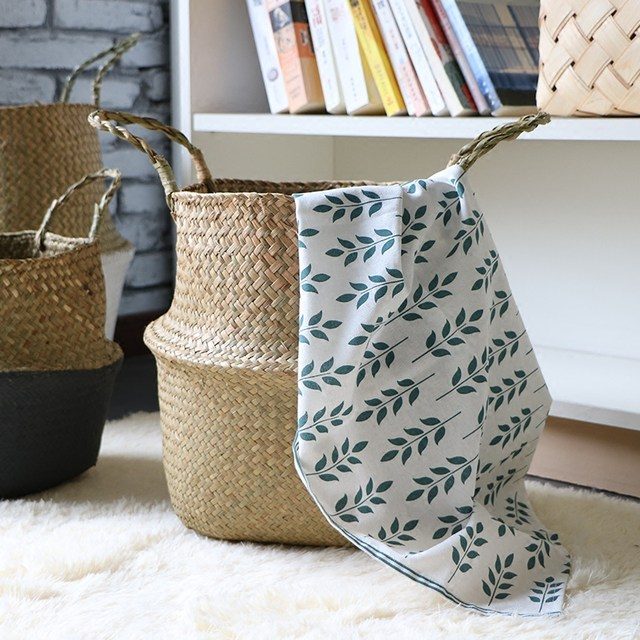 S M L Seagr Wickerwork Basket Rattan Foldable Hanging Flower Pot Planter Woven Dirty Laundry Hamper Storage Home Decor