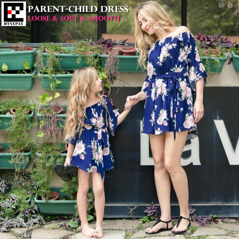 100p Summer Mother&Daughter Parent-child Dress Family Matching Outfits Women Half Sleeve Loose Dress Kid Girl Print Lacing Dress