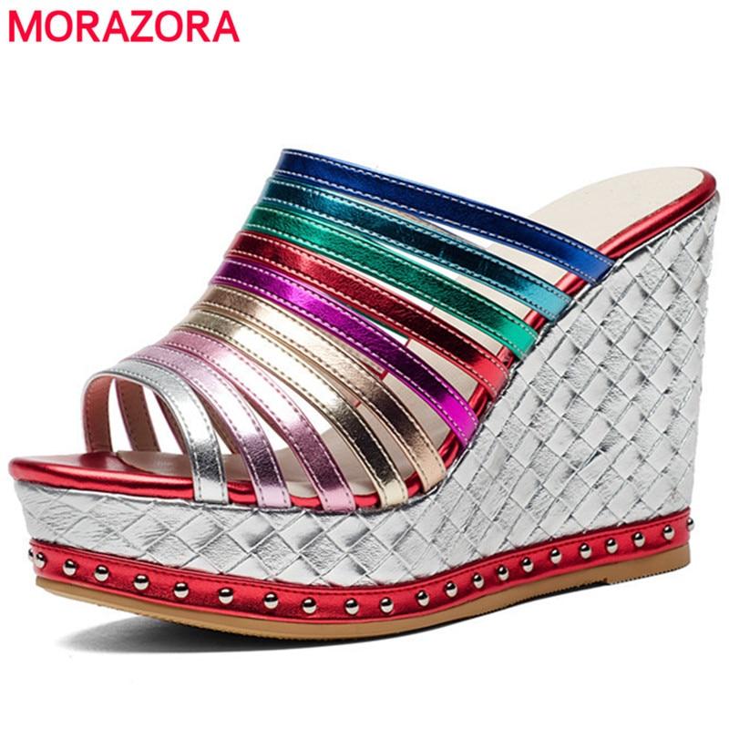 MORAZORA ฤดูร้อนรองเท้าคุณภาพสูง wedges super รองเท้าส้นสูงรองเท้าผู้หญิงรองเท้าแตะแฟชั่นภายใน pigskin หนังรองเท้าแพลตฟอร์ม-ใน รองเท้าส้นสูง จาก รองเท้า บน   1