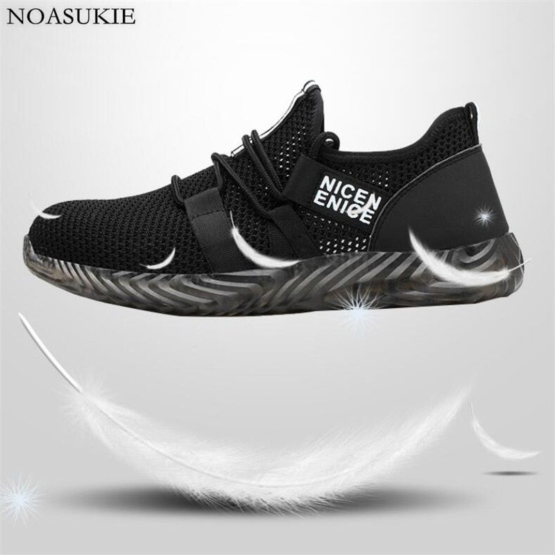 Fashion Summer Mesh Lightweight Safety Shoes Men Breathable Striped Work Shoes Sneakers Anti Smashing Puncture Steel Toe Shoes in Work Safety Boots from Shoes