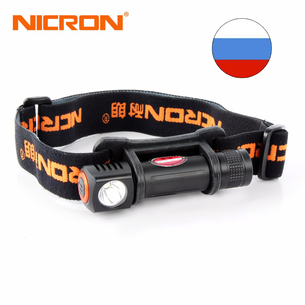NICRON Mini LED Flashlight Head Lamp 120Lm Torch Lamp 72 Meter Long Beam Waterproof 1W HeadLight For Camping Outdoor Use H12 nicron long range rechargeable super led brightness headlamp 900lm 200m waterproof flashlight headlight torch outdoor use h30