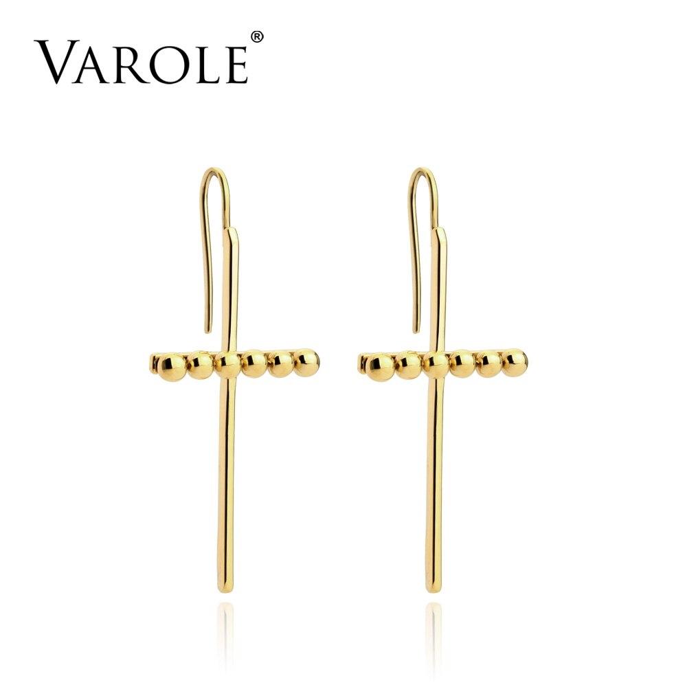VAROLE Cross Point Dangle Earrings Gold Color Earings Drop Earrings For Women Long Earring Fashion Jewelry Brinco Feminino