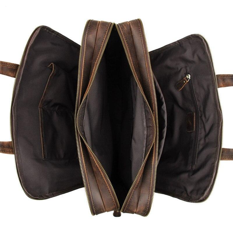 Nesitu brązowa prawdziwa skóra mężczyźni teczki Messenger torby podróżna torba biznesowa Crazy Horse skóra 15.6 ''Portfolio na laptopa M7388 w Teczki od Bagaże i torby na  Grupa 3