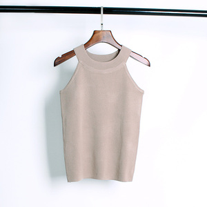 Image 3 - Summer Women Slim Knitting Halter Camisole Tops Female Bodycon Knitted Tanks Sleeveless Basic Solid T shirts  8017