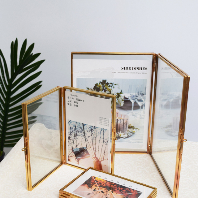 Folded Double Sided Glass Metal Photo Frame Botanical Specimen
