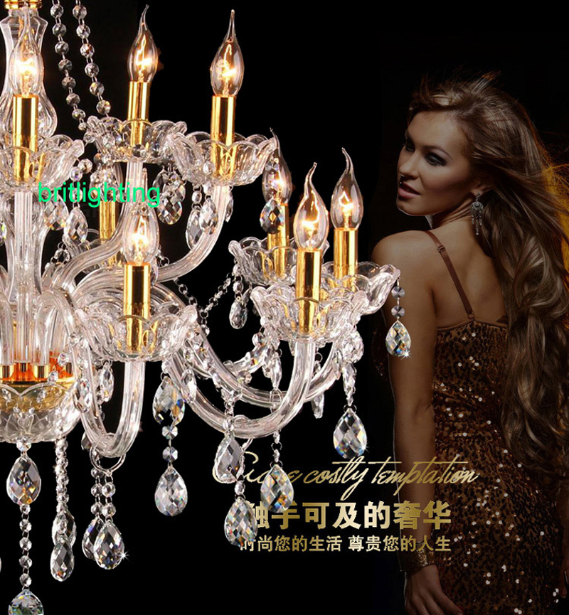 home chandeliers modern chandelier hope lighting living room chandelier Luxury Cognac Double Layer Candle Crystal Chandelier