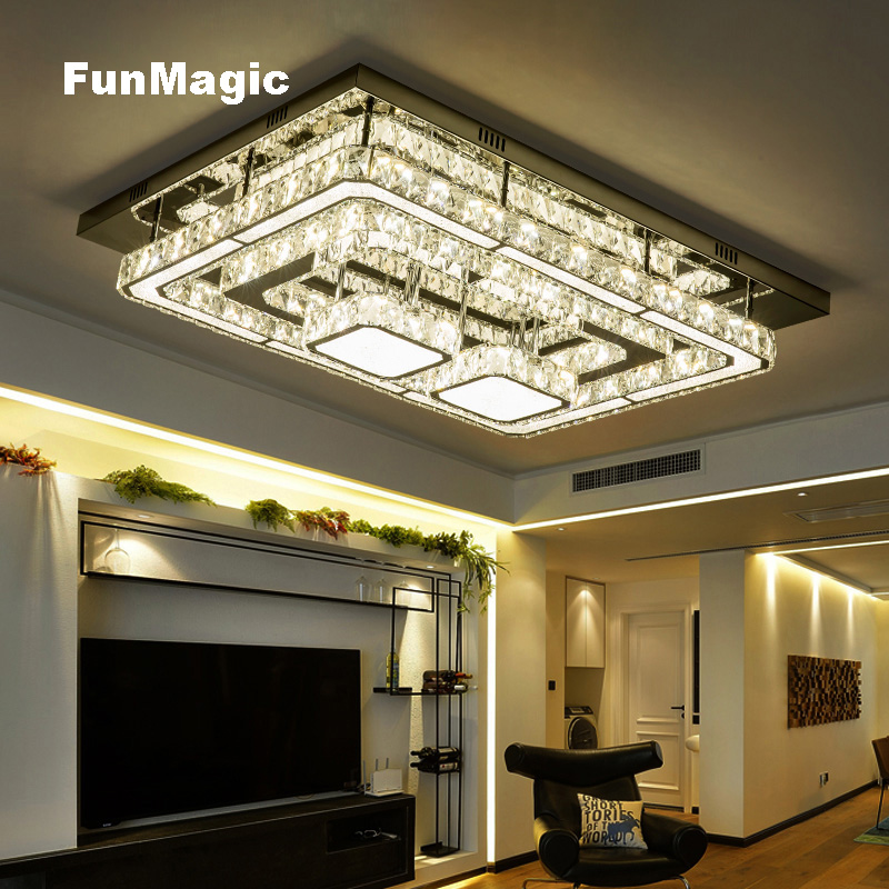 Post-modern Luxury LED Crystal Ceiling Lights Rectangular Crystal Lamp Living Room Fixture LED Lighting Dimming Remote Control