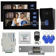DIYSECUR Videoportero Intercom Timbre de La Puerta Cerradura de Seguridad Kit IR Cámara Del Monitor de 125 KHz Lector RFID
