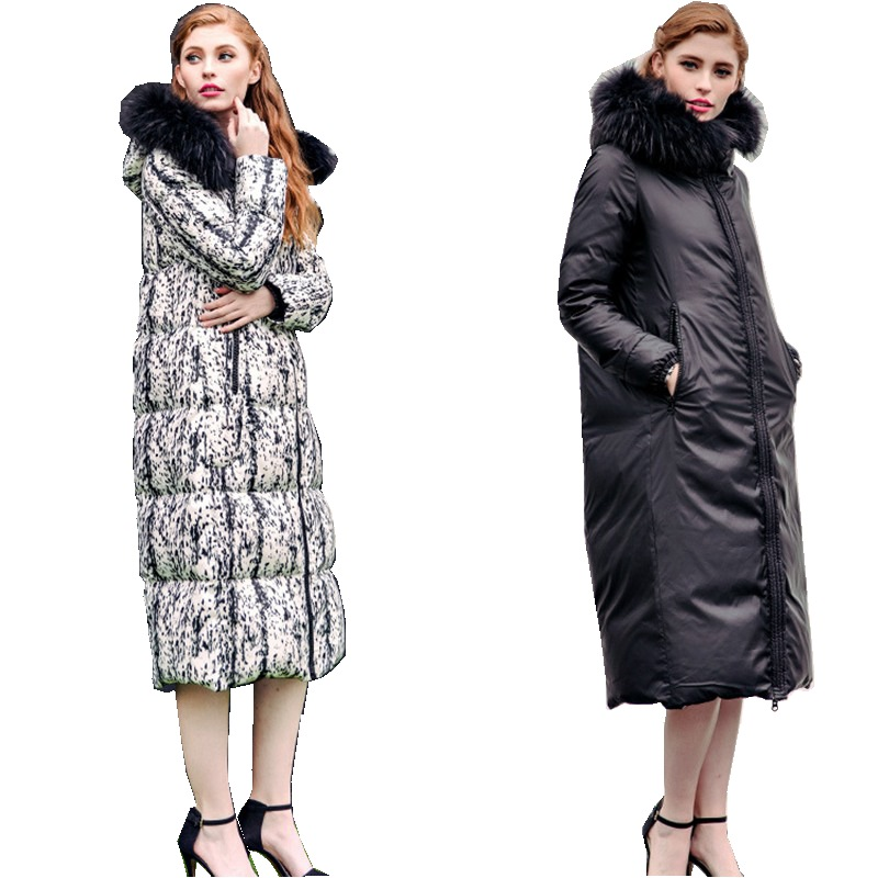 Winter Women's Parkas   Down     Coats   90% Duck   Down   Raccoon Fur Hoody 2 Side Wearing Lady Warm X-Long Outerwear Overcoat LF4273