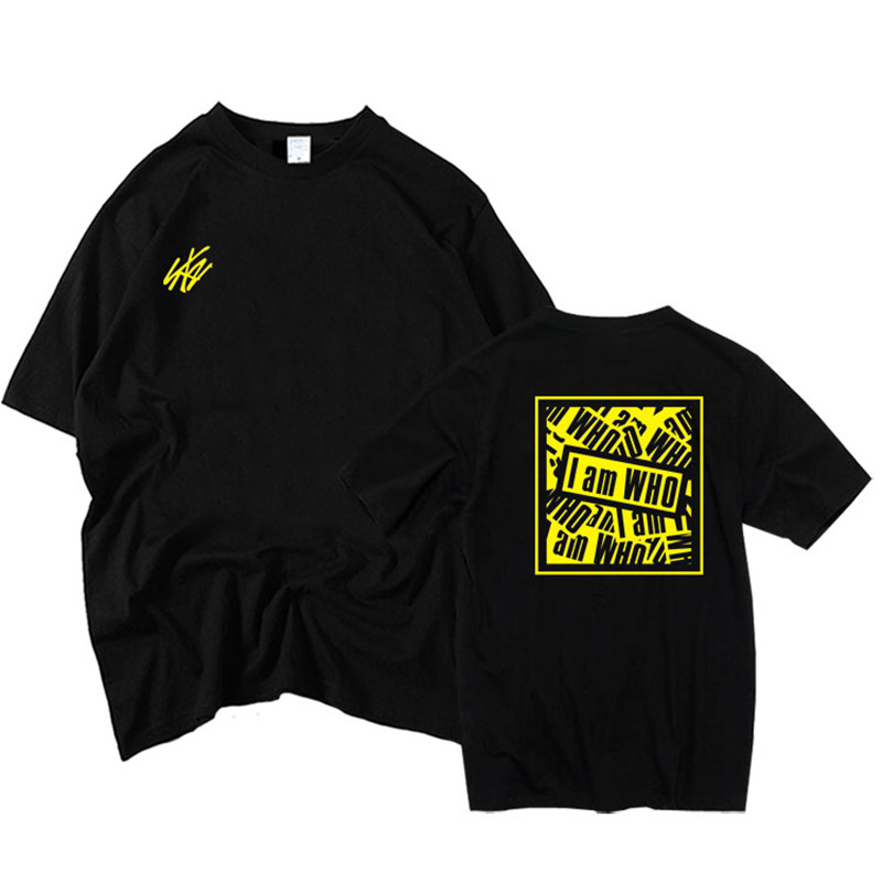 kpop Straykids combination I am WHO Peripheral support Song clothing Men and women Same paragraph Short-sleeved t-shirt image