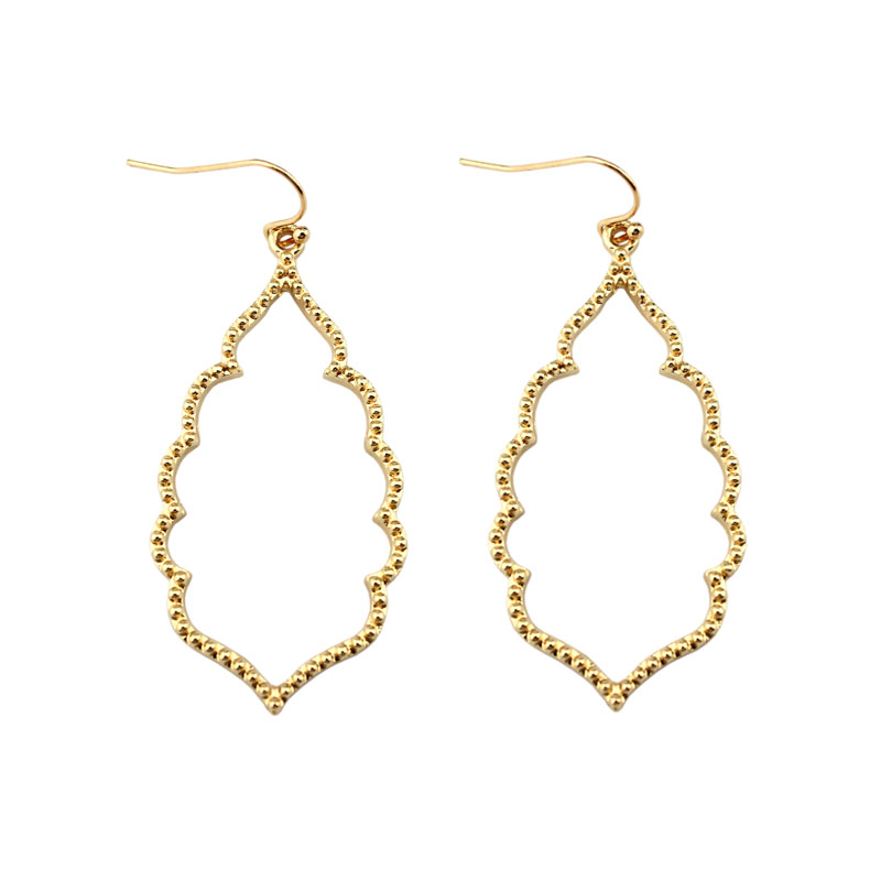 LET IT BE Wholesale Brand KS Gold Filigree Teardrop Hexagon Earrings for Women Fashion Oval Hook Earrings Jewelry 2017