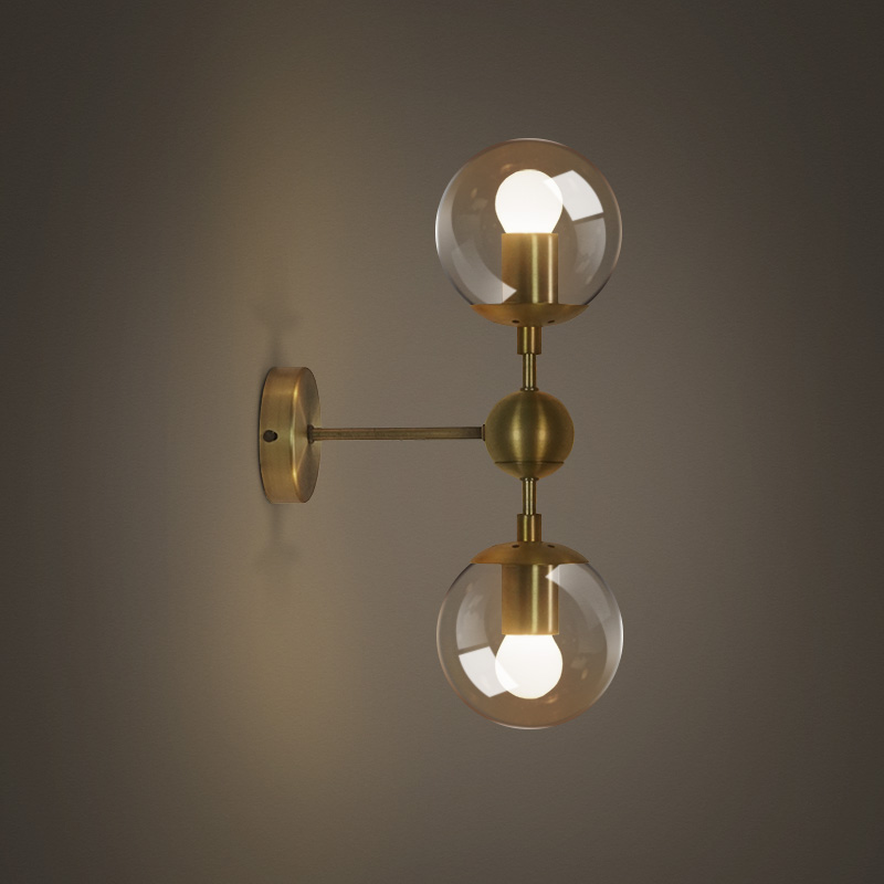 American European industry retro gold wall light modern LOFT wall lamp bean glass ball wall ...
