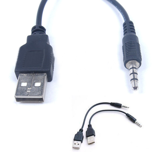 Stereo Audio USB Charging Data Cord Cables Jack 3.5MM Male to Male ...