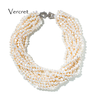 Vercret Baroque Cultured Freshwater Pearl Collar Necklace Multilayer Irregular 5 6mm Pearl Choker 925 Silver Crystal