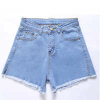 Women Denim Shorts Fashion Brand Casual Tassel Ripped Loose High Waist Shorts Loose Short Jeans A