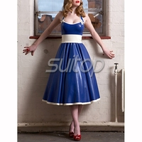 lovely latex rubber dress BLUE SUTIOP