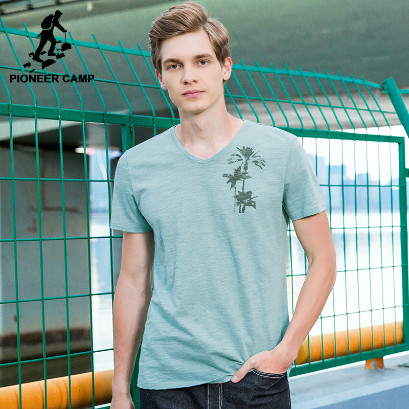 Pioneer Camp V-neck T shirt men brand-clothing fashion simple light green T-shirt male top quality 100% cotton Tees ADT702235