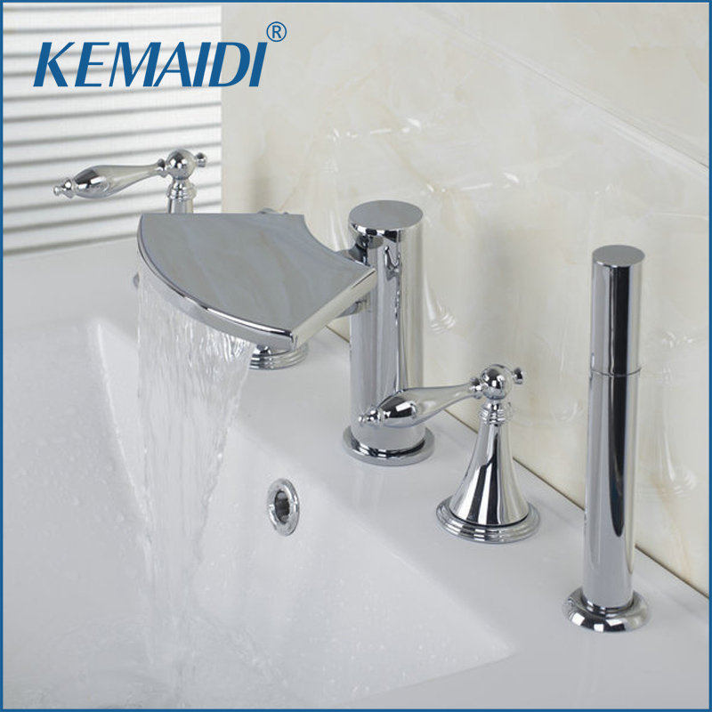 KEMAIDI 3 Handles Taps With Handle Shower Deck Mounted Waterfall Faucets,Mixers & Taps Bathtub Mixer Bathtub Bathroom Faucet KEMAIDI 3 Handles Taps With Handle Shower Deck Mounted Waterfall Faucets,Mixers & Taps Bathtub Mixer Bathtub Bathroom Faucet