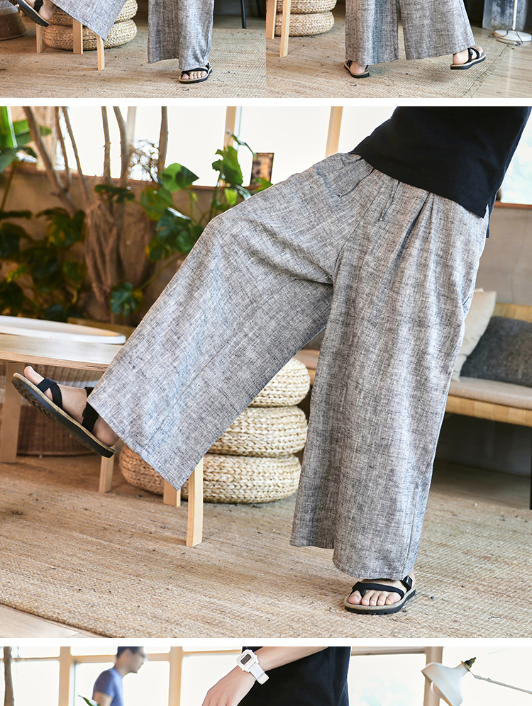 Sinicism Store Man Cotton Linen Wild Leg Pant Men Casual Stripe Straight Flare Trousers 2020 Male Traditional Pants Trousers 45