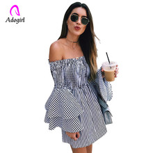 Adogirl slash neck ruffles patchwork blue striped shirts wide ruffles sleeve strapless blouse long sleeve women leisure outfits