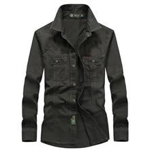 Весенняя Мужская высококачественная повседневная брендовая рубашка в стиле милитари с длинным рукавом, Мужская Осенняя рубашка из хлопка армейского зеленого цвета, M-6XL