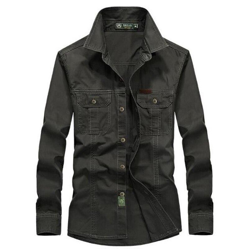 2018 Spring Men's High Quality Military Casual Brand Long Sleeve Shirt Man Autumn 100% Cotton  Army Green Shirts M-6XL