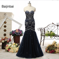 Real Picture Robe De Soiree Black 2016 Mermaid Prom Dresses Abendkleider Sweetheart Beading Lace Up Formal