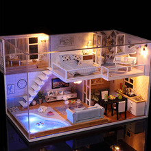 купить DIY Doll house Miniature Dollhouse Casa Loft House For Dolls Model Building Kits Christmas Birthday Gift Toys For Children #E по цене 2082.9 рублей