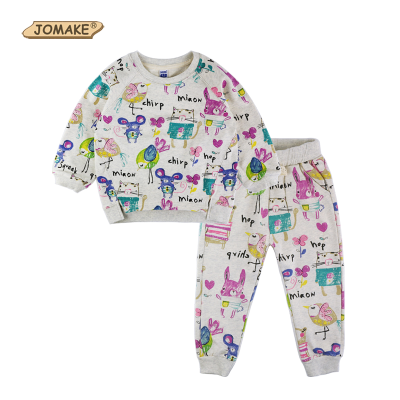 Cute New Spring Autumn Baby Girl Clothes Sets Kids Casual Suits Cartoon Graffiti Animal Sweatshirts and Pants Children Clothing
