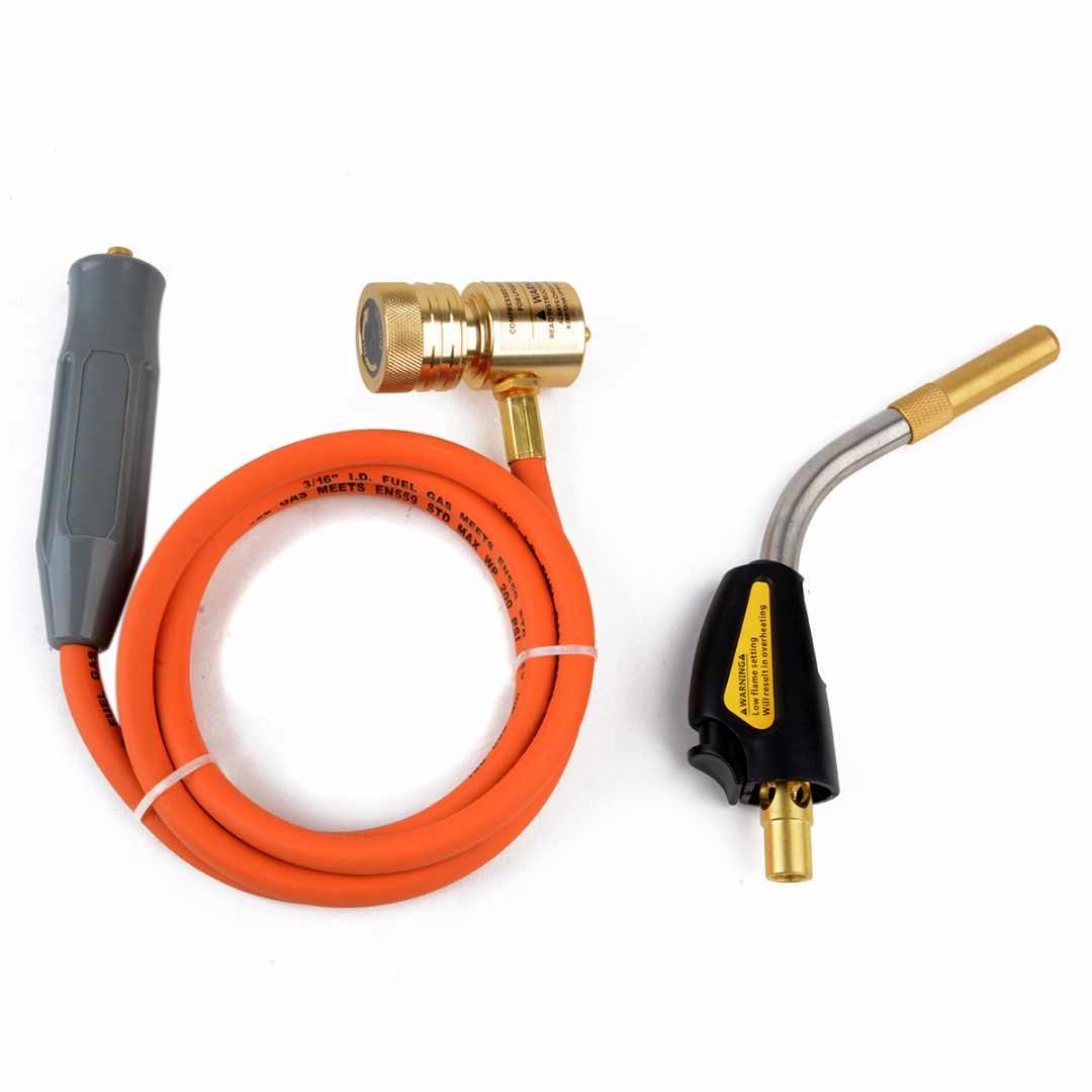 Mayitr Gas Self Igniting Turbo Torch With Hose Solder Propane Welding  Torches for Plumbing Air Condition Heating Refrigeration