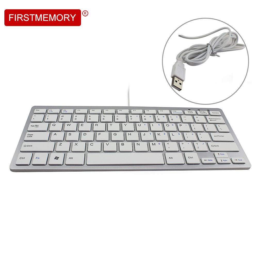 Firstmemory Ultra Thin Keyboard With 78-Key Slim White Ergonomic Wired Gaming Keyboard English For PC Laptop Desktop Mini Silent mini ultra thin universal bluetooth v2 0 59 key keyboard for android red white
