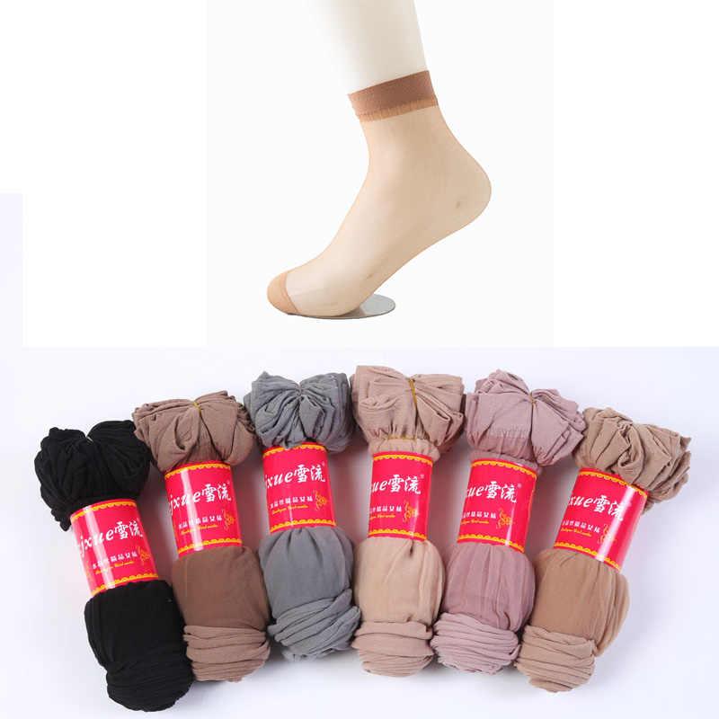 10pairs toptan kadınlar yaz seksi ultra ince şeffaf kristal ipek çorap yüksek elastik cilt rengi naylon kısa çorap kadın