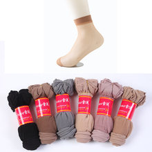 10pairs wholesale women summer sexy ultrathin transparent crystal silk socks high elastic skin color nylon short socks female(China)