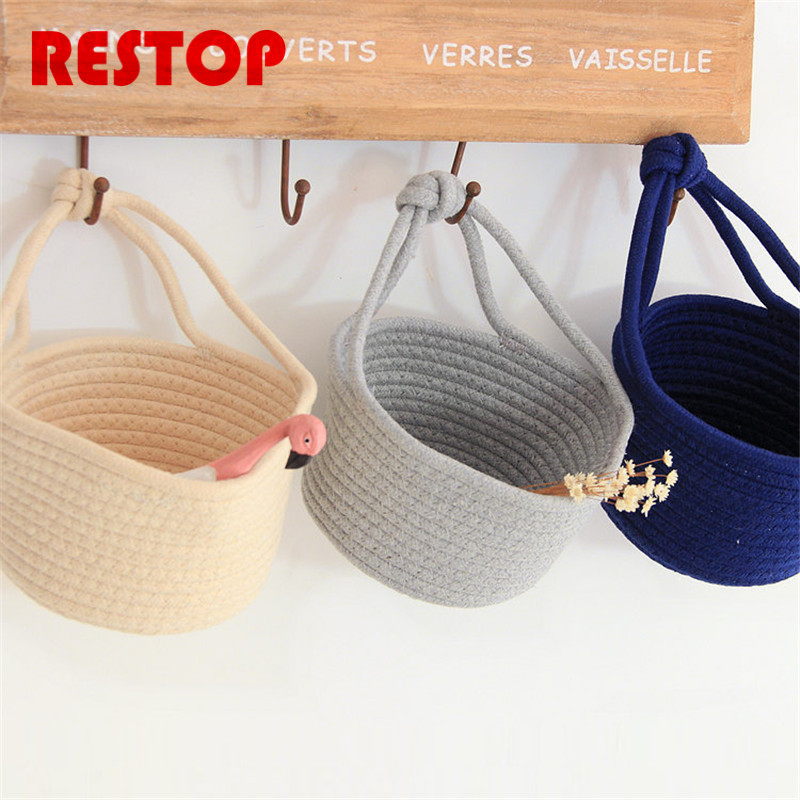 2017 Hot Sales Nordic small basket Cotton Knitting Desk Storage Box Holder Jewelry Cosmetic Stationery Organizer Case RES980