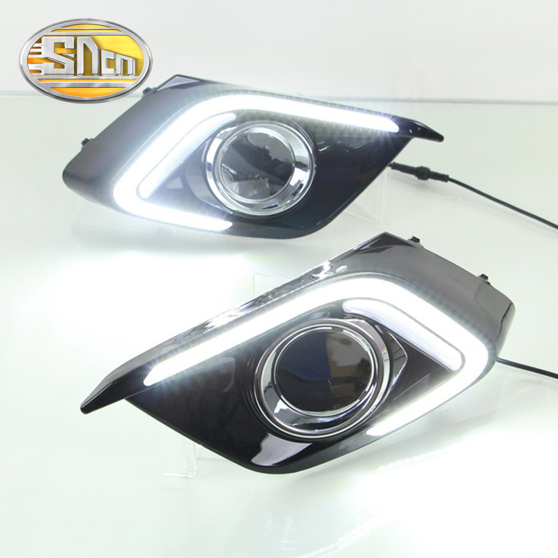 SNCN LED Daytime Running Light For Mazda 3 2014 2015 2016,Car Accessories Waterproof ABS 12V DRL Fog Lamp Decoration цена
