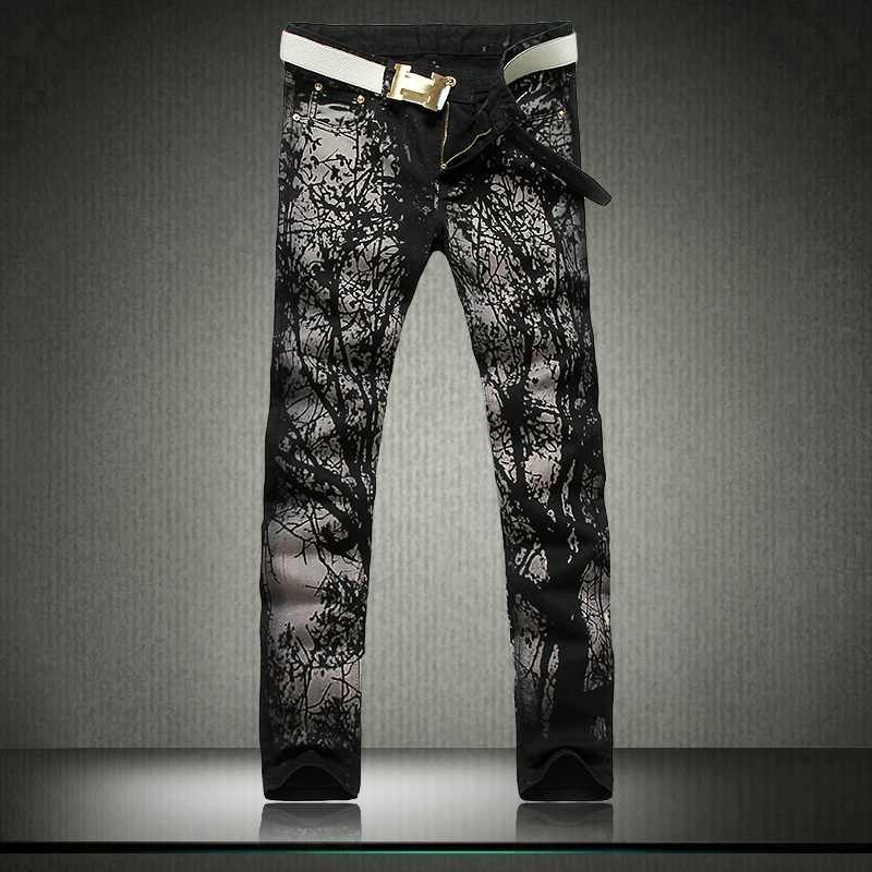 ФОТО Tide Male Trousers Nightclubs Paragraph Trees Pattern Slim Jeans Korean Version Straight Pants Small Two Colors Nightclubs 28-38