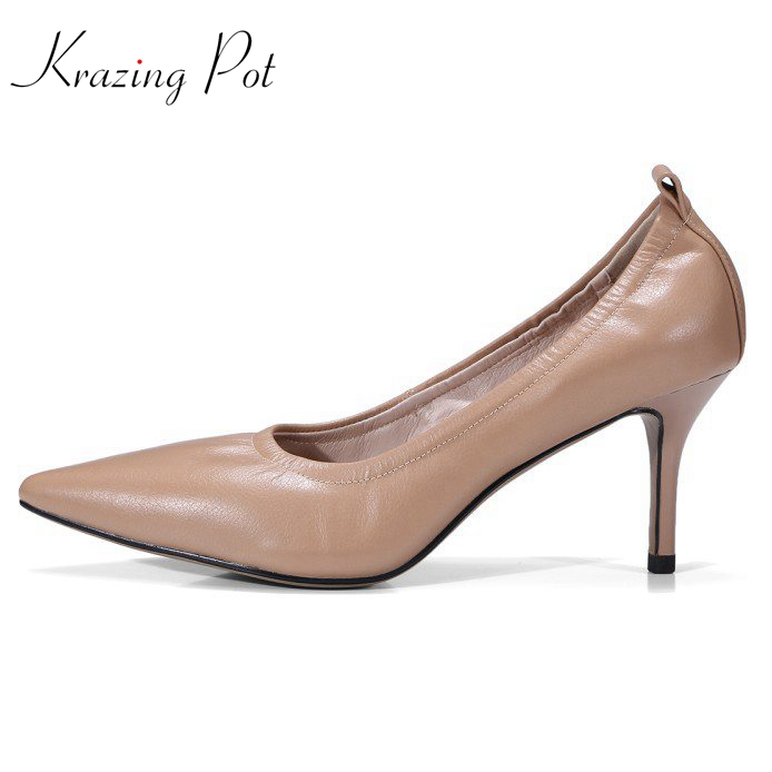 Krazing pot 2018 cow leather classics superstar soft leather shoes women pointed toe high heels stiletto simple style pumps L9f1