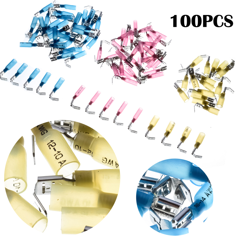 100pcs Yellow Red Blue Heat Shrink Wire Connector Electrical Insulated Waterproof Crimp Terminal Set 22-10AWG PiggyBack Termator pro skit pm 912 insulated combination pliers red yellow 175mm