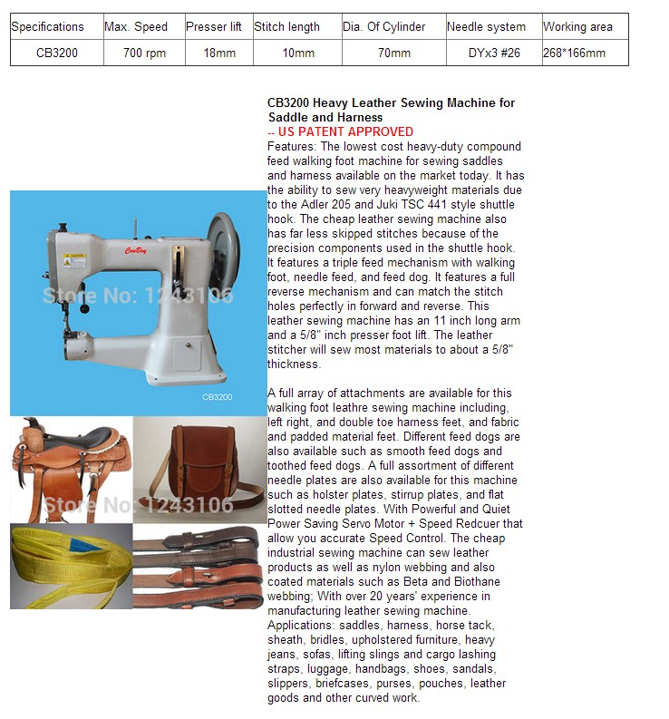 CB40 Harness Leather Heavy Leather Sewing Machine For Saddle And Unique Harness Leather Sewing Machine