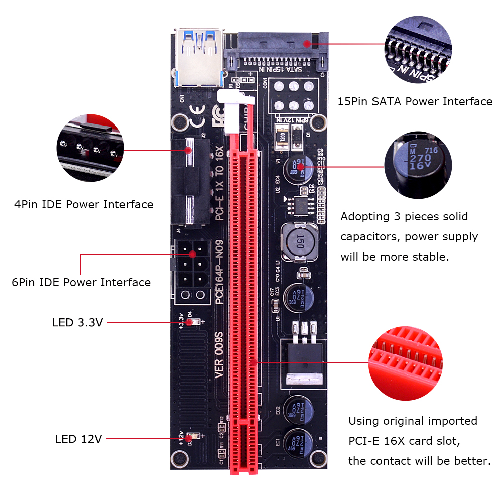 Chipal 2018 Golden Ver009s Pci-e Riser Card Pcie Pci Express Molex 6pin To Sata 1x 16x 60cm Usb 3.0 Extender With Led Indicator Computer Cables & Connectors
