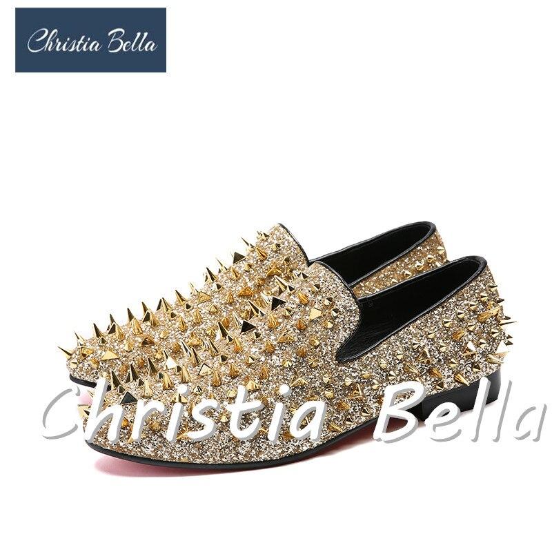 Grife Bella Rebites Estágio Sapatos Handmade Christia Festa Plus Casual Homens Moda Preto Mocassins Prom Size Couro Dourado ouro Da Desgaste De FwxPFg