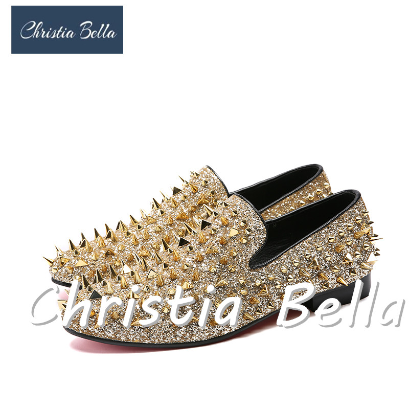 Christia Bella Handmade Men Rivets Shoes Fashion Party Prom Men Loafers Brand Designer Plus Size Leather Casual Stage Wear Shoes christia bella plus size brand embroidery men loafers pointed toe business wedding dress shoes suede leather party formal shoes