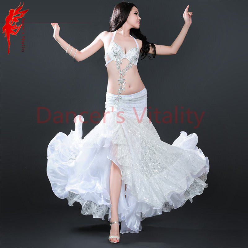 Lady Belly Dance Performance Suit Stones Bra+satin Skirt+arms Belly Dance Set For Women Belly Dance Performance Clothes SML